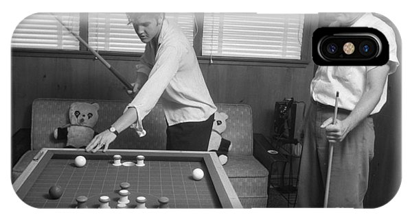 Elvis Presley And Vernon Playing Bumper Pool 1956 IPhone Case