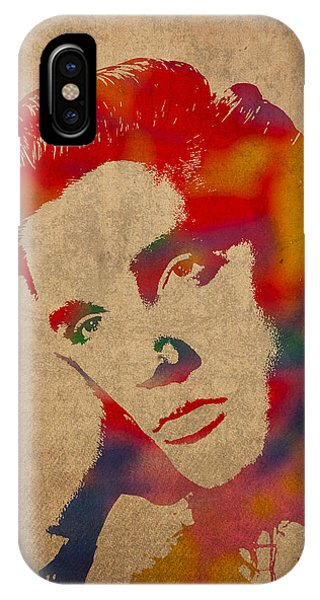 Portraits iPhone X Case - Elvis Presley Watercolor Portrait On Worn Distressed Canvas by Design Turnpike