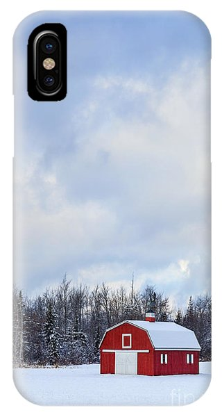 New England Barn iPhone Case - Embrace The Cold by Evelina Kremsdorf