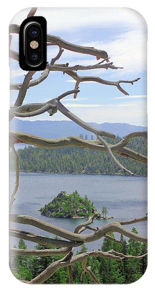 Emerald Bay Through Cedar Phone Case by Mickey Hatt