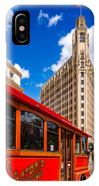 Emily Morgan Hotel And Red Streetcar - San Antonio Texas IPhone Case