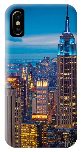 City Scenes iPhone Case - Empire State Blue Night by Inge Johnsson