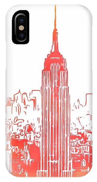 Empire State Building iPhone Case - Empire State Building And Manhattan Skyline Sketch by Dan Sproul