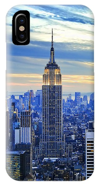 Statue Of Liberty iPhone Case - Empire State Building New York City Usa by Sabine Jacobs