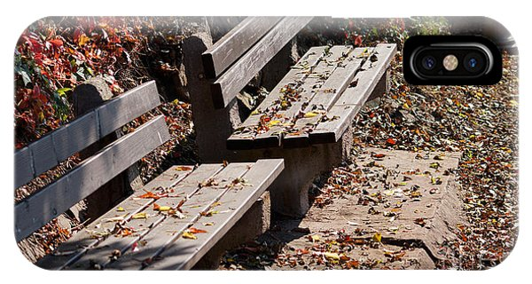 Empty Benches In Autumn IPhone Case