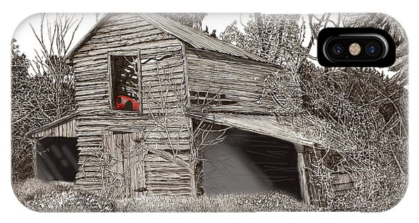 Pen And Ink Of Barn iPhone Case - Empty Old Barn by Jack Pumphrey