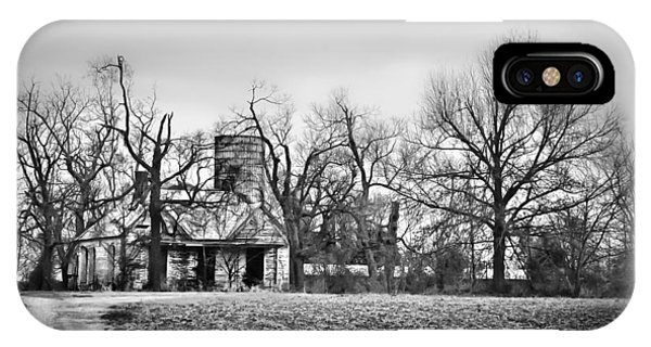 End Of The Road Farmhouse In Bw IPhone Case