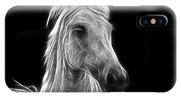 White Horse iPhone Case - Energetic White Horse by Joachim G Pinkawa