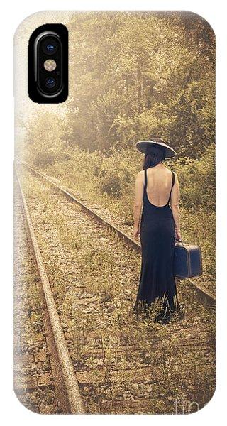 Train Tracks iPhone Case - Engaged With Destiny by Evelina Kremsdorf