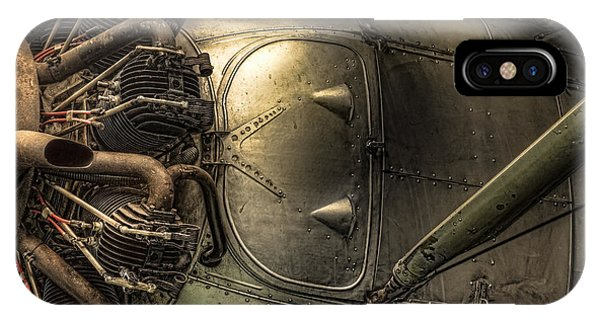 Radial Engine And Fuselage Detail - Radial Engine Aluminum Fuselage Vintage Aircraft IPhone Case
