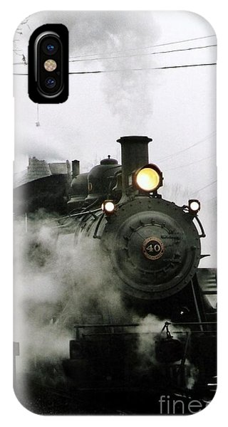 Engine Number 40 Making Steam Pulling Into New Hope Passenger Train Terminal IPhone Case
