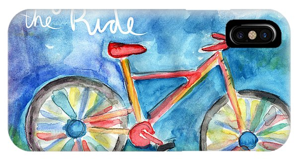 Bicycle iPhone X Case - Enjoy The Ride- Colorful Bike Painting by Linda Woods