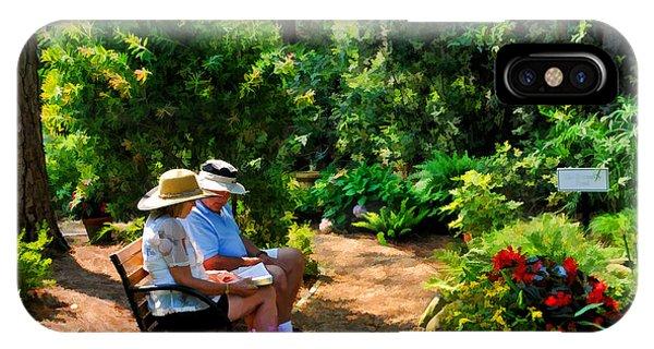 Loving Couple Enjoying Their Prayer Garden IPhone Case