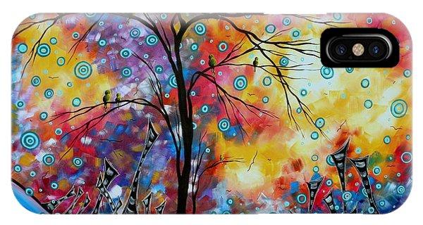 Barren iPhone Case - Enormous Whimsical Cityscape Tree Bird Painting Original Landscape Art Worlds Away By Madart by Megan Duncanson