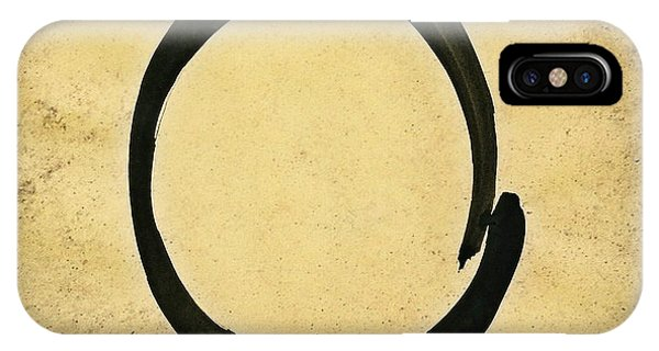 Enso #4 - Zen Circle Abstract Sand And Black IPhone Case