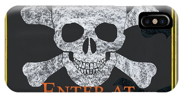 Skull iPhone Case - Enter At Your Own Risk by Debbie DeWitt