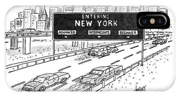 Highway iPhone Case - Entering New York: Beginner by Tom Cheney