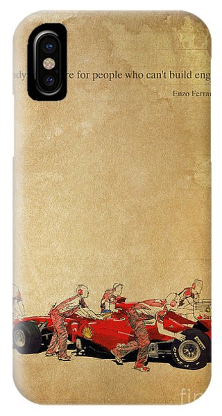 1 iPhone Case - Enzo Ferrari Quote - Ferrari F1 by Drawspots Illustrations