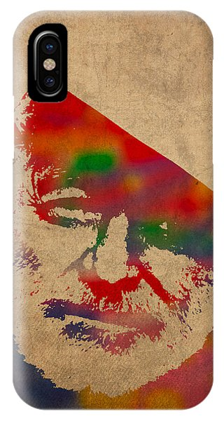 Watercolor iPhone Case - Ernest Hemingway Watercolor Portrait On Worn Distressed Canvas by Design Turnpike