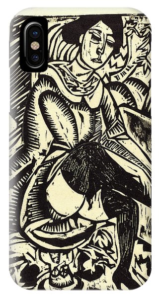 Frau iPhone Case - Ernst Ludwig Kirchner, Woman Tying Her Shoe Frau by Litz Collection