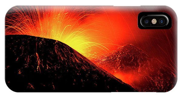 Explosion iPhone X Case - Eruption By Night by Simone Genovese