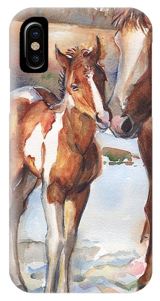 iPhone Case - horse painting in watercolor Eskimo Kisses by Maria Reichert