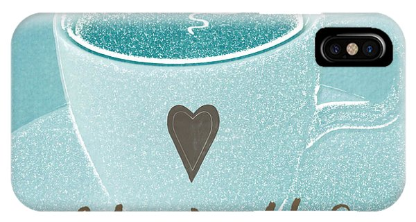 Blue And White iPhone Case - Espresso Love In Light Blue by Linda Woods