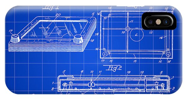 Etch-a-sketch iPhone Case - Etch A Sketch Patent 1959 - Blue by Stephen Younts