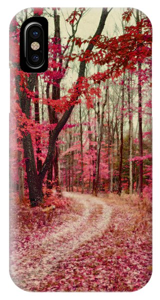 Ethereal Forest Path With Red Fall Colors Phone Case by Brooke T Ryan