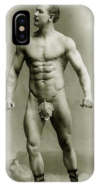 Moustache iPhone Case - Eugen Sandow In Classical Ancient Greco Roman Pose by American Photographer