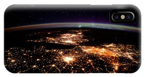 International Space Station iPhone Case - Europe At Night, Satellite View by Science Source