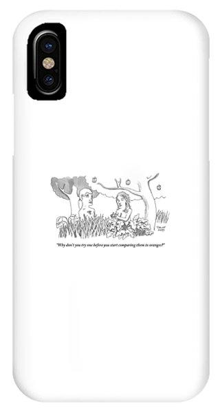 Eve Hands An Apple To Adam In The Garden Of Eden IPhone X Case