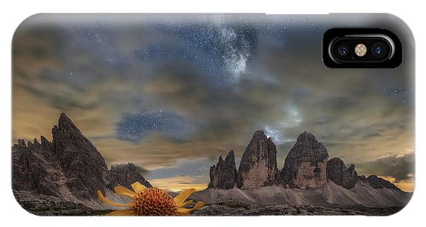 Night iPhone Case - Even The Flowers Seem To Be Fascinated By The Stars by Alberto Ghizzi Panizza