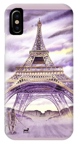 Evening In Paris A Walk To The Eiffel Tower IPhone Case
