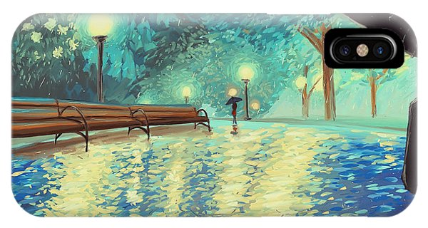 Park Bench iPhone Case - Evening Rain by Samantha Ramsay Behrman
