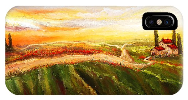 Evening Sun - Glowing Tuscan Field Paintings IPhone Case