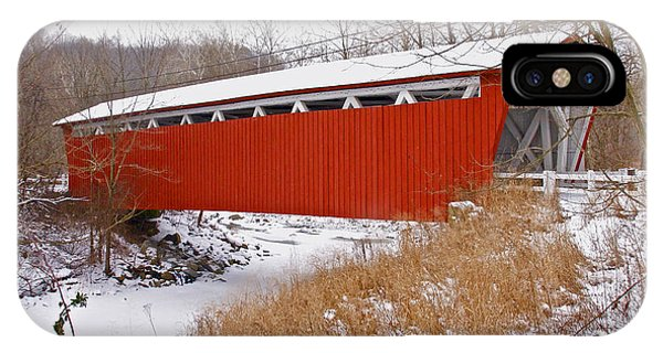 Everett Rd. Covered Bridge In Winter IPhone Case