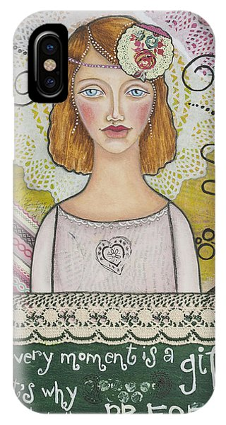 Every Moment Is A Gift  Inspirational Mixed Media Art By Stanka Vukelic IPhone Case