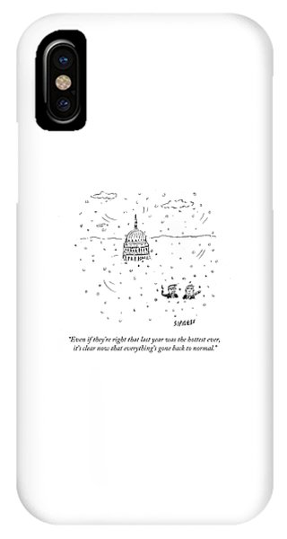 Capitol Building iPhone Case - Everything's Gone Back To Normal by David Sipress