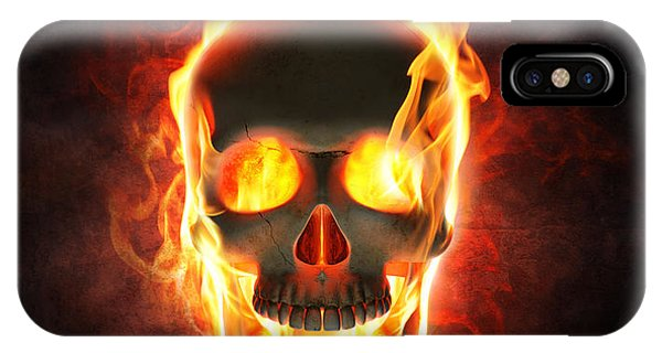 Skull iPhone Case - Evil Skull In Flames And Smoke by Johan Swanepoel