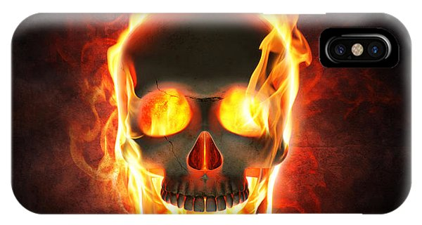 Magician iPhone Case - Evil Skull In Flames And Smoke by Johan Swanepoel