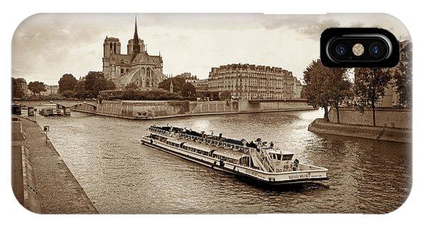 Navigation iPhone Case - Excursion Boat On The Seine.paris by Bernard Jaubert