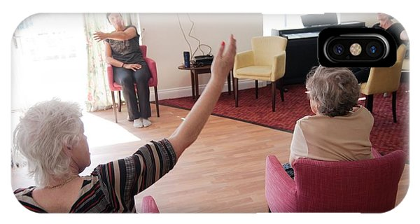 Assisted Living iPhone Case - Exercise Class At A Care Home by John Cole