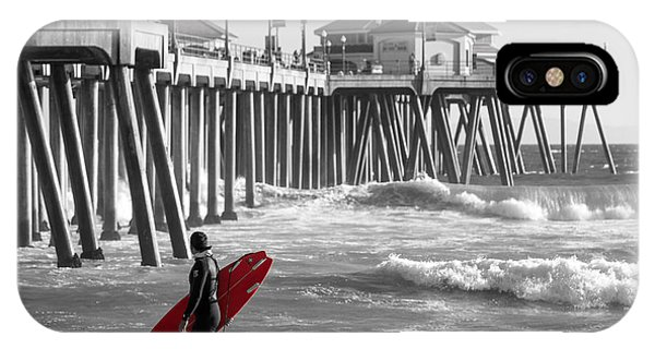 Existential Surfing At Huntington Beach Selective Color IPhone Case