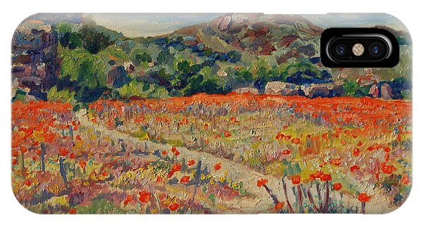 Expanse Of Orange Desert Flowers With Hills IPhone Case