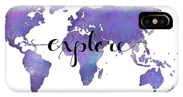 Travel iPhone Case - Explore World Map Painting by Michelle Eshleman