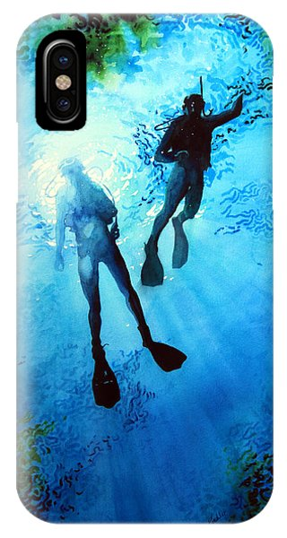 Scuba Diving iPhone Case - Exploring New Worlds by Hanne Lore Koehler
