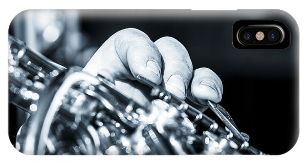Extreme Close Up Of Fingering Of French Horn IPhone Case
