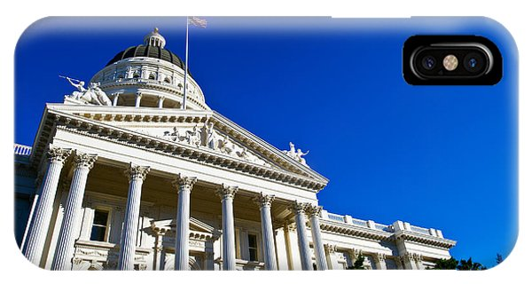 Capitol Building iPhone Case - Facade Of The California State Capitol by Panoramic Images
