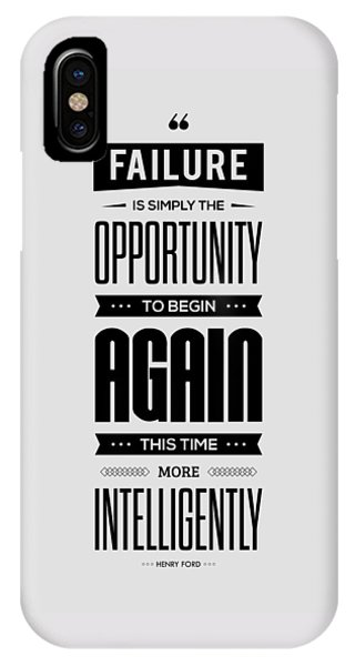 Again iPhone Case - Failure Is Simply The Opportunity Henry Ford Success Quotes Poster by Lab No 4 - The Quotography Department